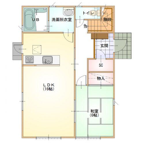 ベーシックデザインハウス01-1F間取り図