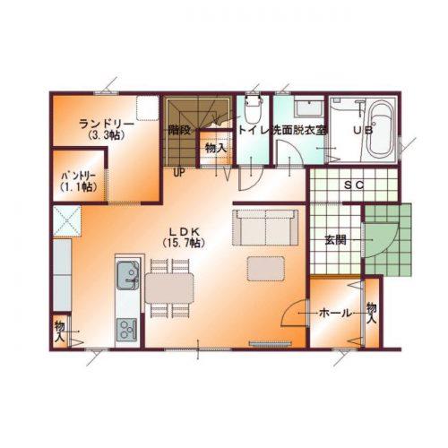 コンパクトデザインハウス04-1F間取り図