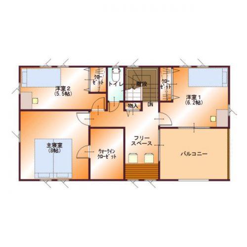 コンパクトデザインハウス06-2F間取り図